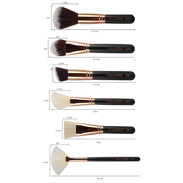 15 Pcs Nylon Facial Eye Lip Makeup Brushes Set