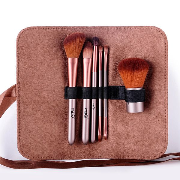 6 PCS Face Lip Eye Fiber Makeup Brushes Set with Storage Bag
