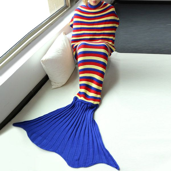 Good Quality Comfortable Stripe Knitting Sofa Mermaid Blanket