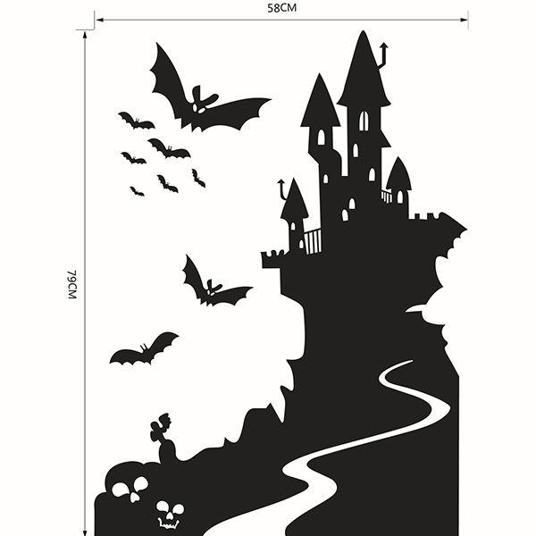 Bats Castle Happy Halloween Waterproof Room Wall Sticker