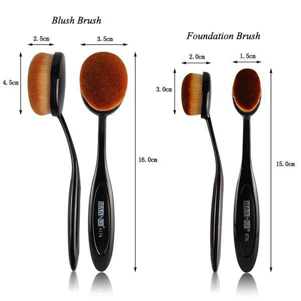 2 Pcs/Set Oval Toothbrush Shape Blush Powder Brush + Foundation Brush
