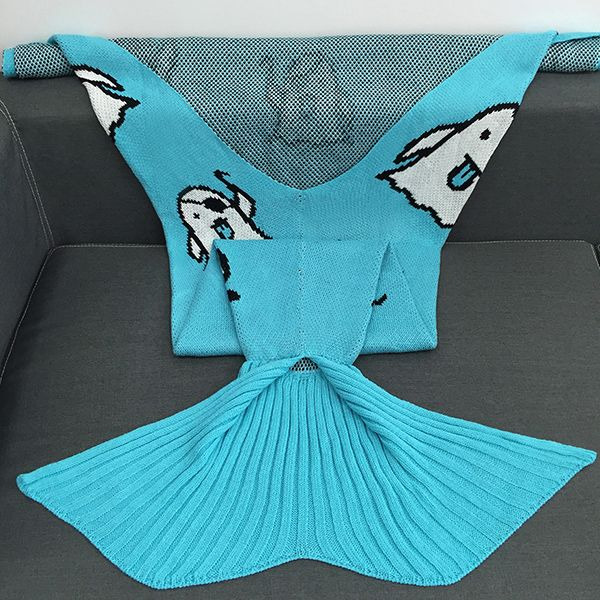 Halloween Ghost Multicolor Crochet Knitting Mermaid Tail Style Blanket
