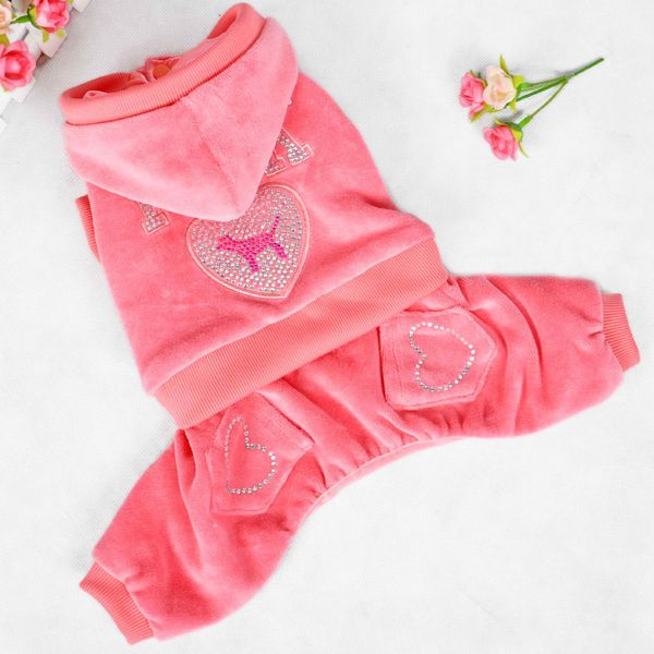 Soft Pink Sport Wear Four Feet Dog Hoodies Pet Warm Clothes