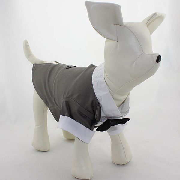 Soft Dog Dovetail Dress Bow Tie Coat Pet Clothes