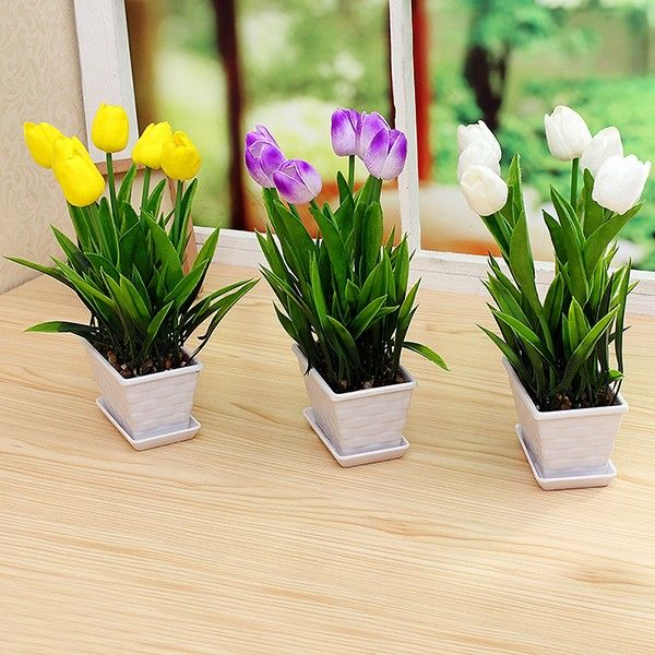 PU Real Touch Tulip Artificial Flower Bonsai