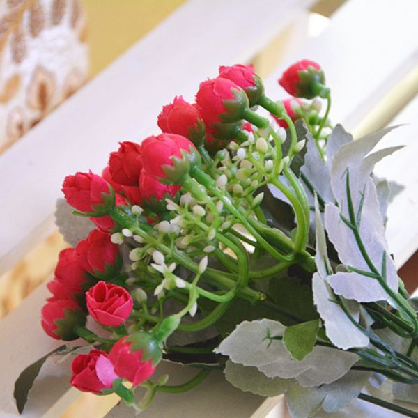 15 Heads Rose Bud Bouquet Home Decor Artificial Flower