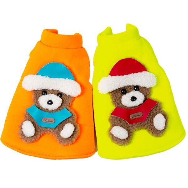Soft Nap Fluorescent Little Bear Jacket Winter Warm Christmas Puppy Clothes