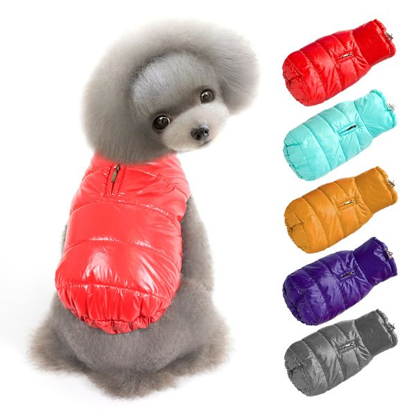 Hooded Glossy Down Jacket Winter Warm Two Feet Puppy Clothes