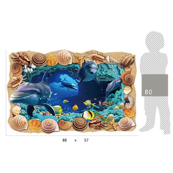 Creative Removable 3D Sea Caves World Bedroom Kindergarten Floor Sticker
