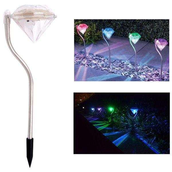 LED Solar Garden Lights Outdoor Decorative Waterproof Diamond Lawn Lamp