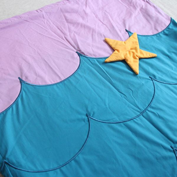 Embroidered Warm Flannel Double Layer Kids' Mermaid Tail Sleeping Bag Blanket