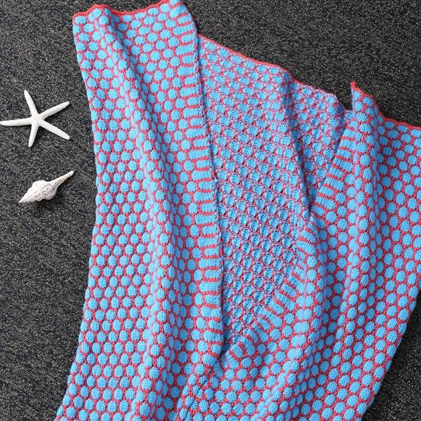 Thicken Knitted Dot Sleeping Bag Kids Wrap Sofa Mermaid Blanket
