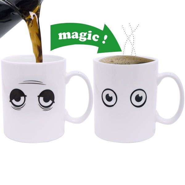 Amazing Wake Up Expression Pattern Ceramic Heat Reactive DIY Color Changing Mug For Gifts