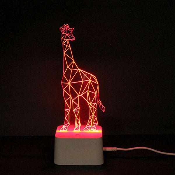 Color Changing 3d Visual Giraffe Remote Control Led Night