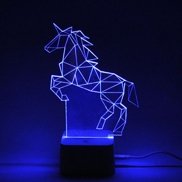 Color Changing 3d Visual Remote Control Horse Led Night Light Colorful In Led Night Lights