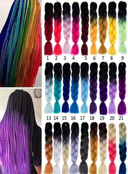 1 Pcs Heat Resistant Fiber Multicolor Braided Hair Extensions