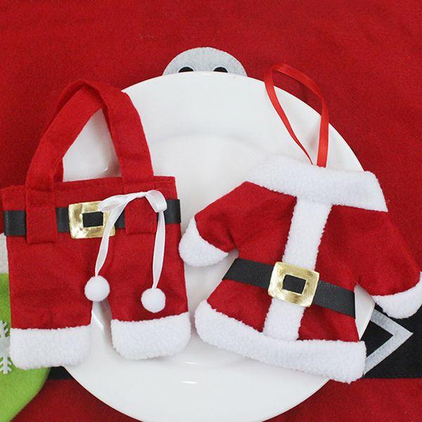 Christmas Table Decor Santa Clothes Tableware Holder Bag