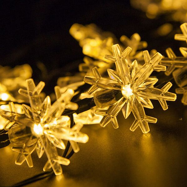 Christmas Supplies Snowflake 4.8M Solar Power LED String Light Decoration