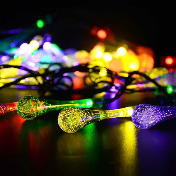 Christmas 4.8M Solar Power Waterdrop LED String Light Decoration