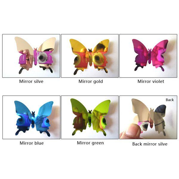 12Pcs 3D DIY Mirror Butterflies Wall Stickers