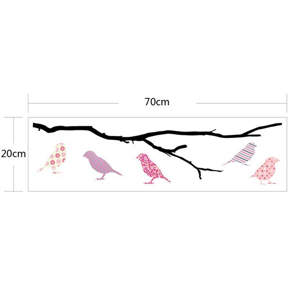 Removable Perched Birds Wall Stickers