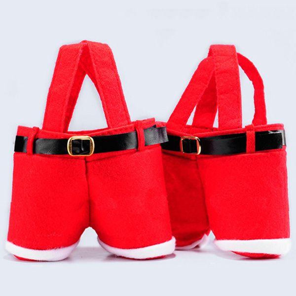 Christmas Wedding Party Santa Pants Gift Candy Bag