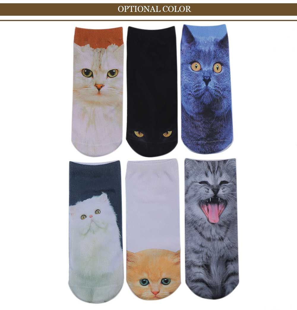 3D Persian Cat Printed Crazy Ankle Socks