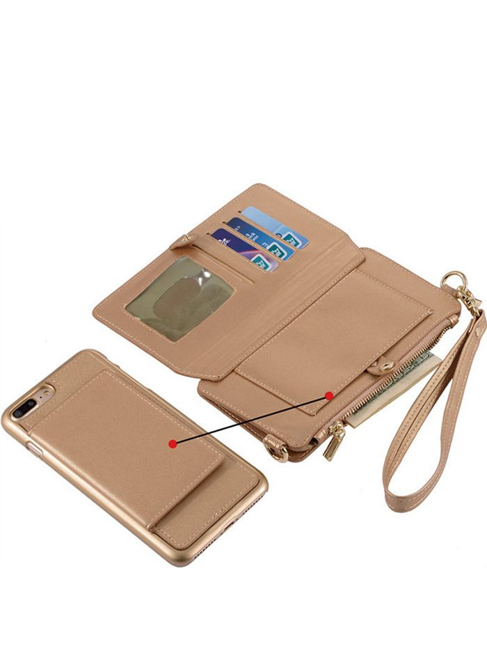 Multifounction Faux Leather Card Slot Flip Wallet Case For iPhone