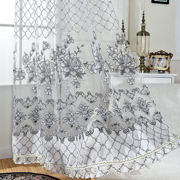 Floral Embroidered Perforate Tulle Window Curtain