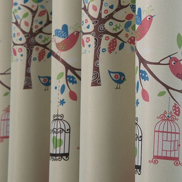Screening Tree Printed Punching Blackout Curtain