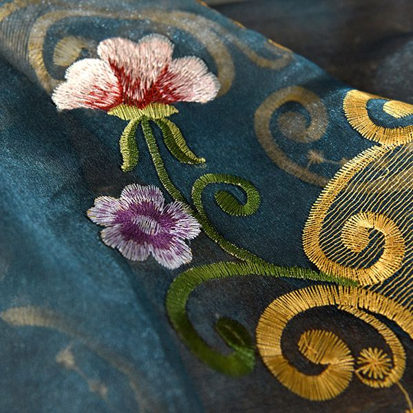 Flower Embroider Voile Sheer Window Curtain