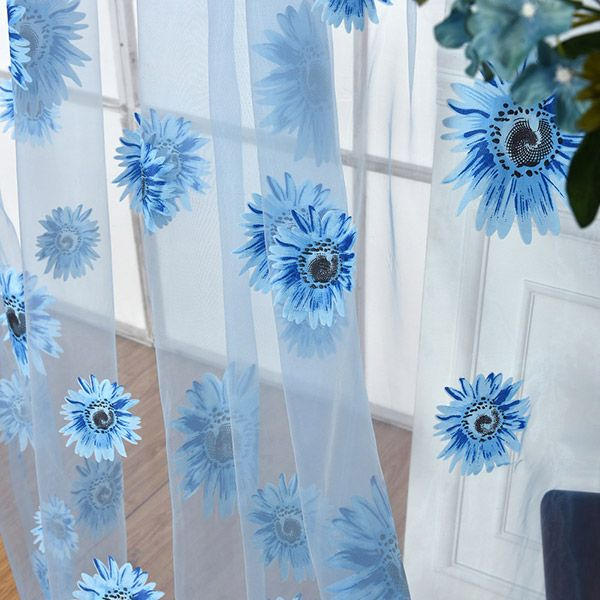 Sunflower Print Fabric Tulle Window Curtain