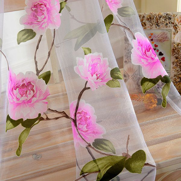 Sami Sheer Floral Print Window Curtain
