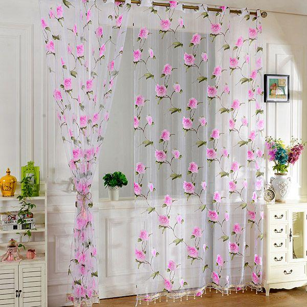 Sami Sheer Floral Print Window Curtain