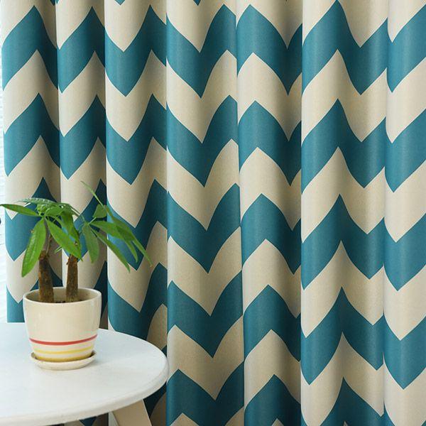 Wave Stripe Full Sun-Shading Window Blackout Curtain