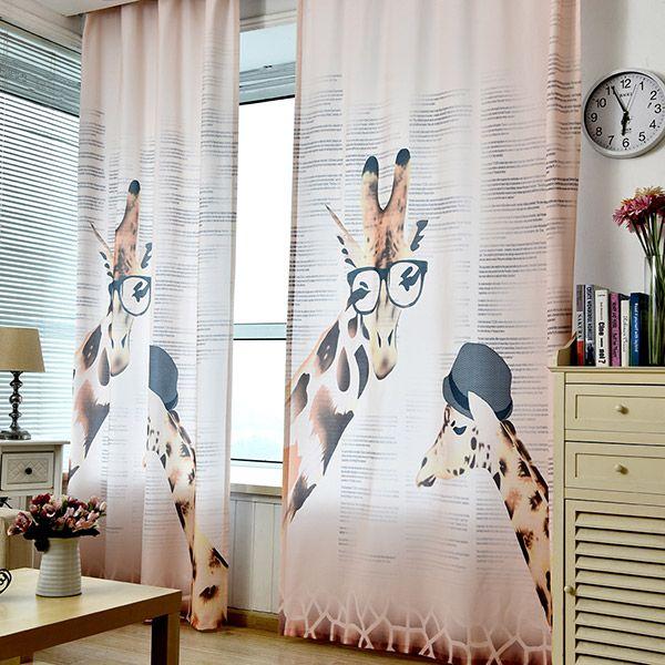 Cartoon Giraffe Print Shading Window Curtain