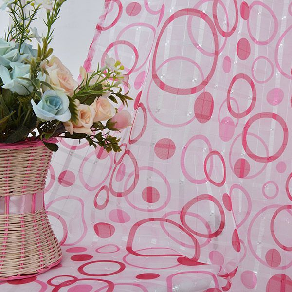 Multi Circle Embroidered Sheer Window Tulle Curtain