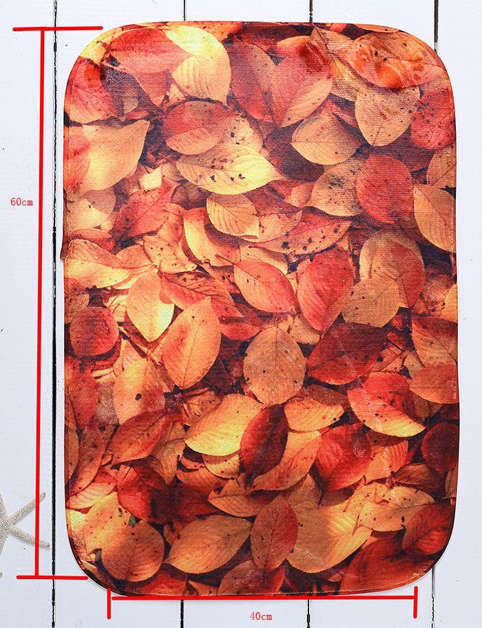 Fallen Leaves Antislip Home Decor Caroset Bathroom Carpet
