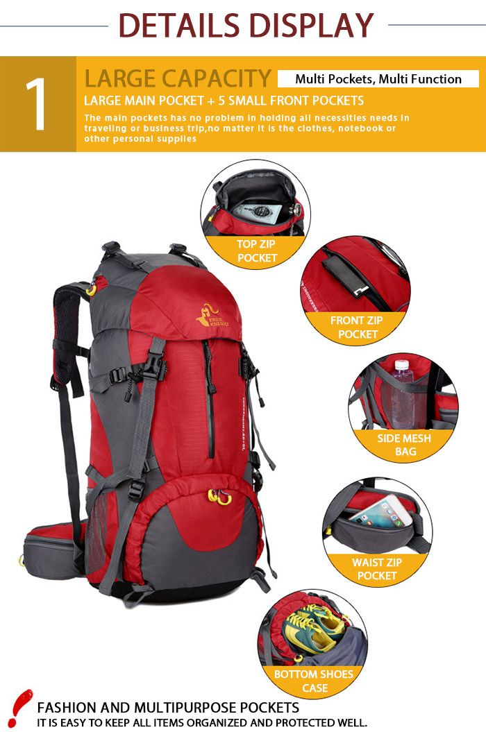 FreeKnight Nylon 50L Mountaineering Backpack with Rain Cover