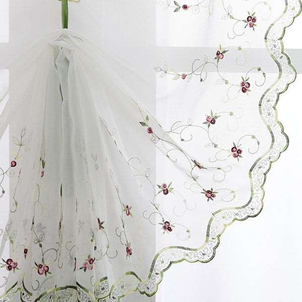 Roman Style Rose Embroidery Tull Curtain For Bedroom