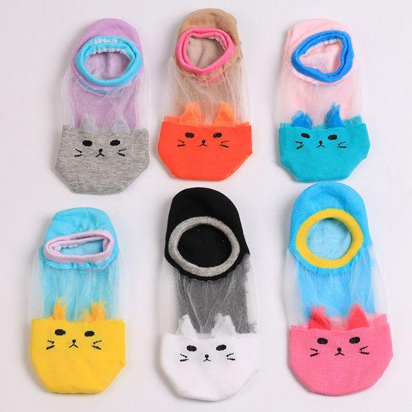 Sheer Mesh Insert Knit Cat Socks