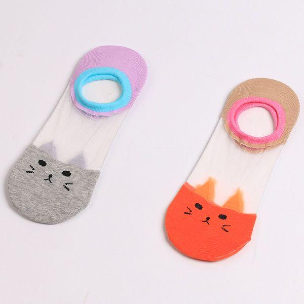 Sheer Mesh Insert Short Knit Cat Socks