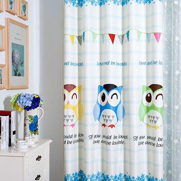 Window Screening Owl Print Blackout Curtain
