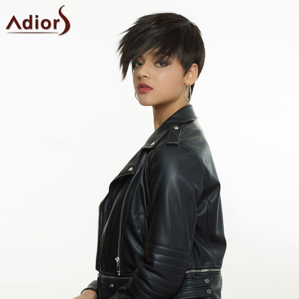 Dark Brown Side Bang Short Fluffy Handsome Women's Synthetic Hair Wig