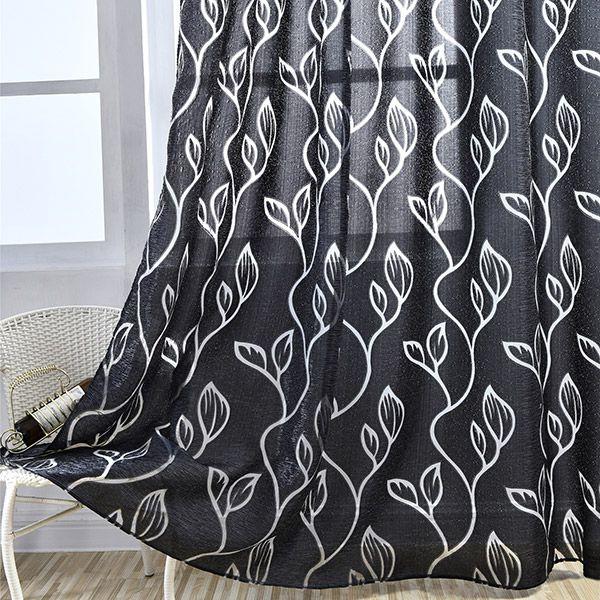 Window Shading Leaf Embroider Tulle Curtain