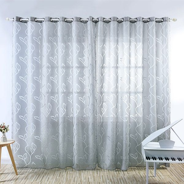 Window Shading Leaf Embroider Tulle Curtain