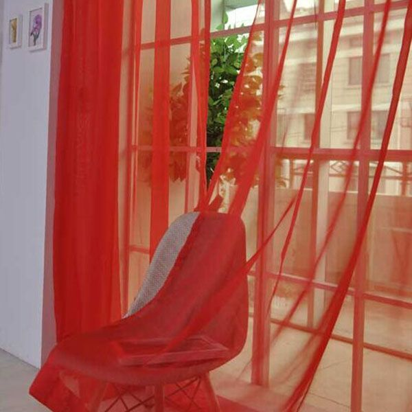 1 Pair of Sheer Window Tulle Fabric Curtains
