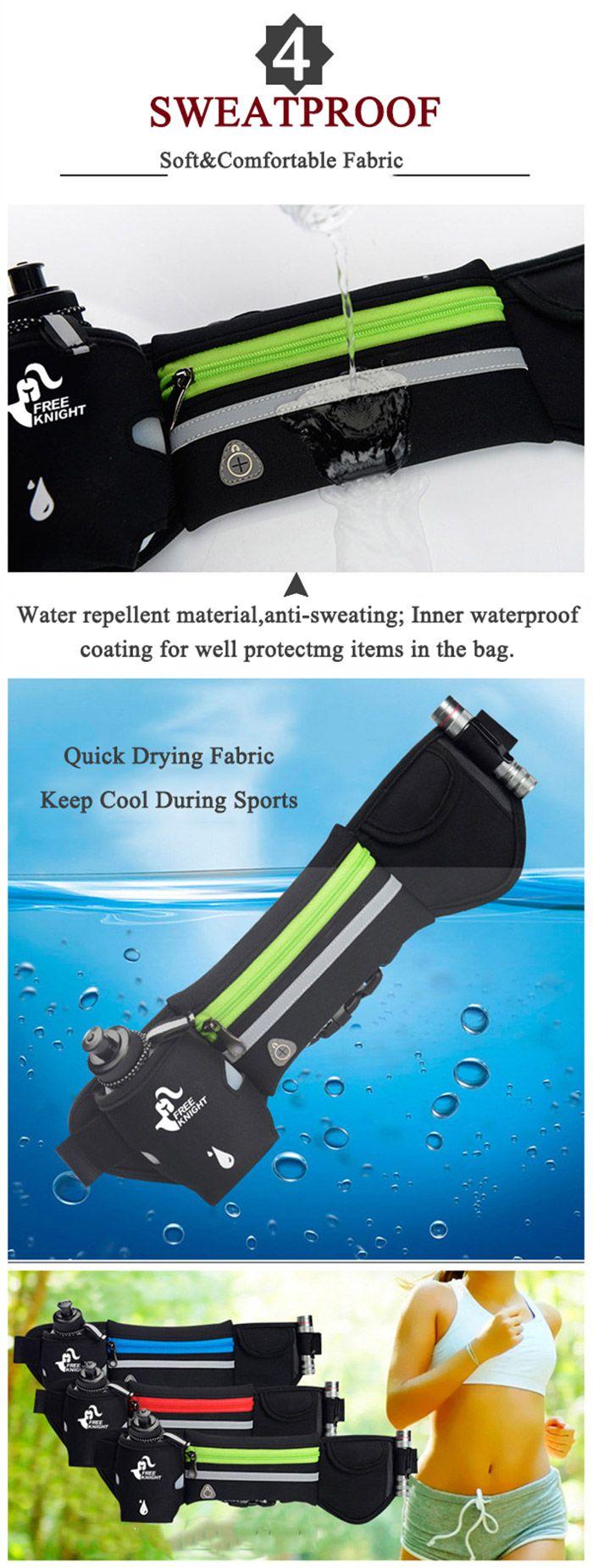 Freeknight Headphone Jack Reflective Waist Bag with One Water Bottle