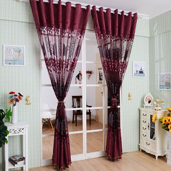 Fabric Sheer Leaf Embroidery Tulle Curtain For Living Room