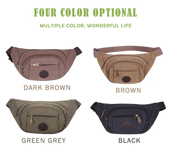 Sports Multifunctional Canvas Waist Bag
